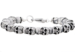 Mens Genuine Gray Caso Jasper Stainless Steel Skull Beaded Bracelet