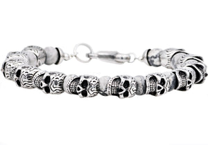 Mens Genuine Gray Caso Jasper Stainless Steel Skull Beaded Bracelet - Blackjack Jewelry