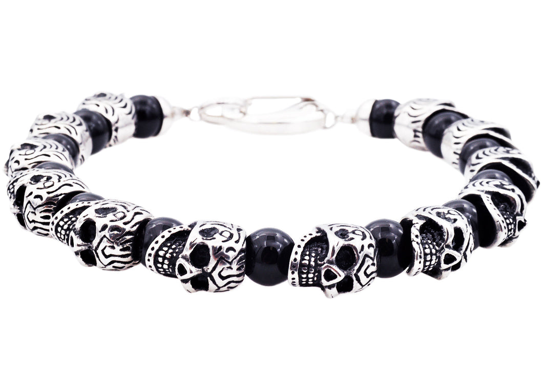 Mens Genuine Onyx Stainless Steel Skull Beaded Bracelet - Blackjack Jewelry