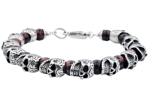Mens Genuine Red Tiger Eye Stainless Steel Skull Beaded Bracelet - Blackjack Jewelry