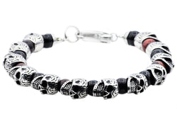Mens Genuine Red Tiger Eye And Onyx Stainless Steel Skull Beaded Bracelet - Blackjack Jewelry