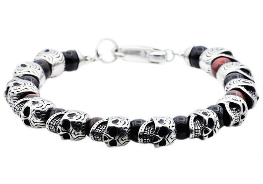 Mens Genuine Red Tiger Eye And Onyx Stainless Steel Skull Beaded Bracelet