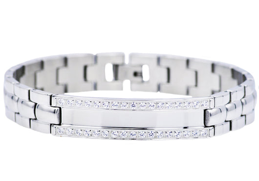 Mens Stainless Steel ID-Engraveable Bracelet With Cubic Zirconia - Blackjack Jewelry