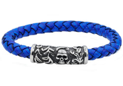 Mens Blue Leather And Stainless Steel Skull Bracelet