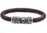 Mens Brown Leather And Stainless Steel Skull Bracelet