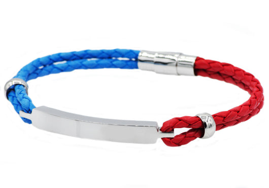 Mens Blue And Red Leather And Stainless Steel Bracelet