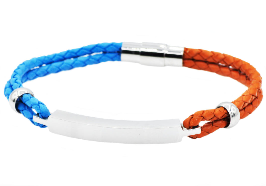 Mens Blue And Orange Leather And Stainless Steel Bracelet - Blackjack Jewelry