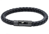 Mens Black Leather And Black Plated Stainless Steel Bracelet With Black Cubic Zirconia