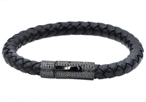 Mens Black Leather And Black Stainless Steel Bracelet With Black Cubic Zirconia - Blackjack Jewelry
