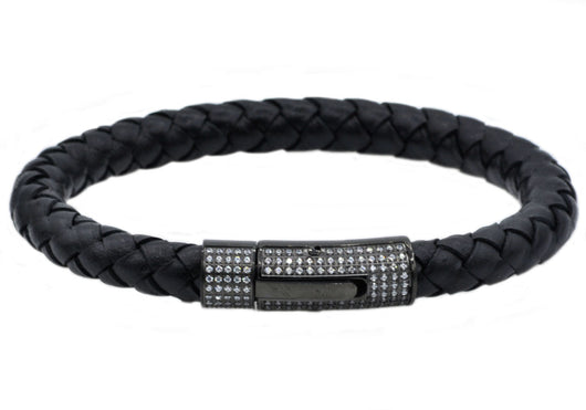 Mens Black Leather and Black Plateed Stainless Steel Bracelet With Cubic Zirconia