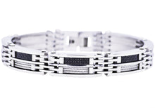 Load image into Gallery viewer, Mens Carbon Fiber And Stainless Steel Wire Bracelet - Blackjack Jewelry
