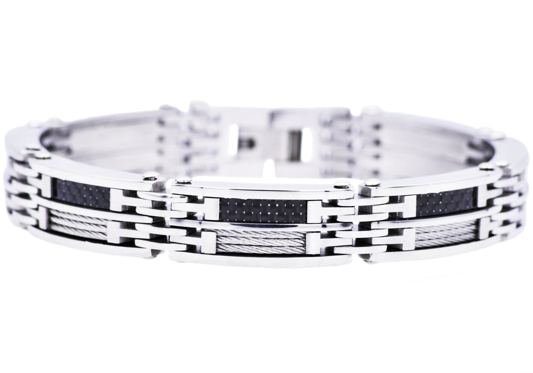 Mens Carbon Fiber And Stainless Steel Wire Bracelet - Blackjack Jewelry