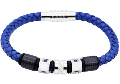 Mens Blue Leather And Stainless Steel Bracelet With Blue Cubic Zirconia - Blackjack Jewelry