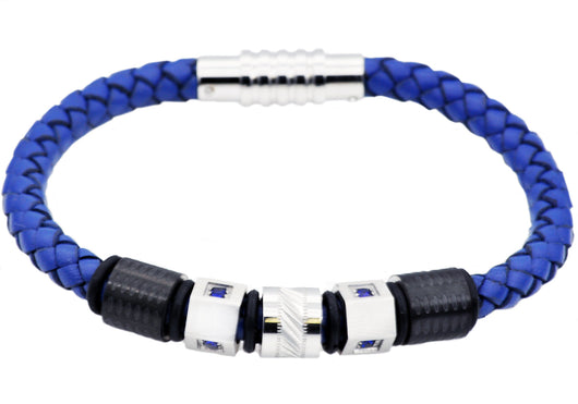 Mens Blue Leather And Stainless Steel Bracelet With Blue Cubic Zirconia