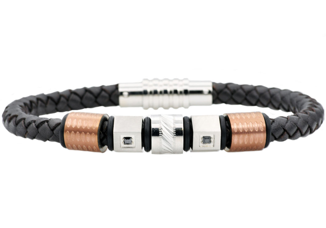 Mens Brown Leather And Chocolate Stainless Steel Bracelet With Brown Cubic Zirconia - Blackjack Jewelry