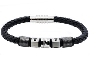 Mens Black Leather And Stainless Steel Bracelet With Black Cubic Zirconia - Blackjack Jewelry