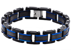 Mens Blue And Black Plated Stainless Steel Bracelet - Blackjack Jewelry