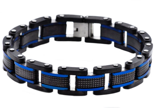 Mens Black Plated Textured Stainless Steel Bracelet With Blue Plated Lines - Blackjack Jewelry