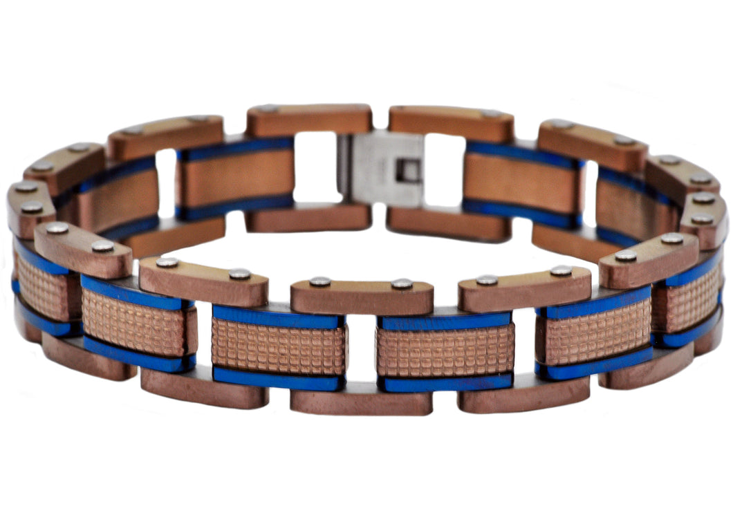 Mens Chocolate Textured Stainless Steel Bracelet With Blue Plated Lines - Blackjack Jewelry