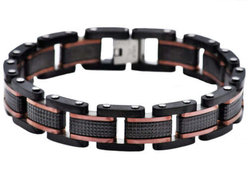 Mens Black Plated Textured Stainless Steel Bracelet With Chcoloate Plated Lines - Blackjack Jewelry