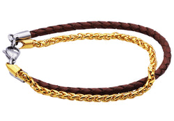 Mens Gold Plated Stainless Steel Brown Leather Bracelet