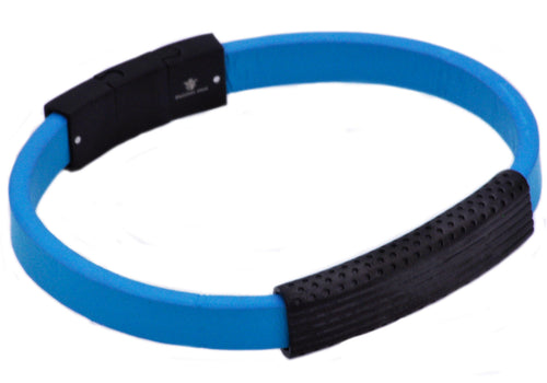 Mens Black Stainless Steel And Blue Silicone Bracelet - Blackjack Jewelry