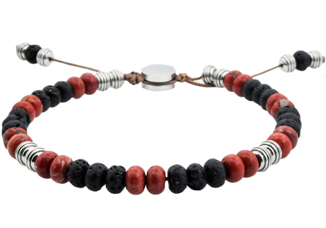 Mens Genuine Red Fossil And Lava Stone Stainless Steel Beaded Bracelet - Blackjack Jewelry