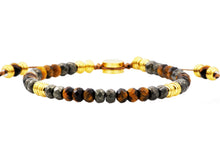 Load image into Gallery viewer, Mens Genuine Pyrite And Tiger Eye Gold Stainless Steel Beaded Bracelet - Blackjack Jewelry