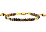 Mens Genuine Pyrite And Tiger Eye Gold Plated Stainless Steel Beaded Bracelet - Blackjack Jewelry