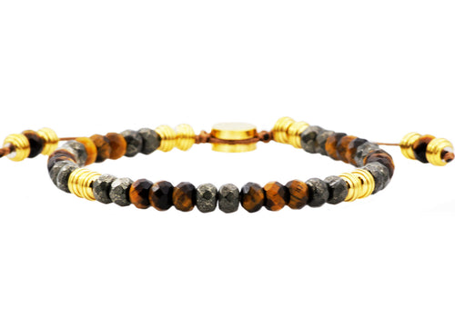 Mens Genuine Pyrite And Tiger Eye Gold Stainless Steel Beaded Bracelet - Blackjack Jewelry
