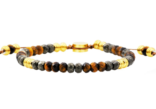 Mens Genuine Pyrite And Tiger Eye Gold Plated Stainless Steel Beaded Bracelet
