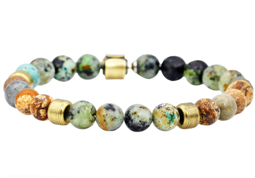 Mens Genuine African Turqoise And Jasper Gold Stainless Steel Beaded Bracelet - Blackjack Jewelry
