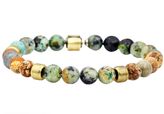 Mens Genuine African Turqiose And Jasper Gold Plated Stainless Steel Beaded Bracelet