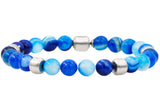 Mens Genuine Blue Agate Stainless Steel Beaded Bracelet
