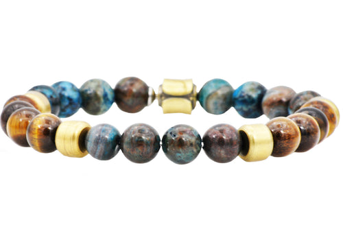 Mens Genuine Blue Crazy Lace And Tiger Eye Gold Stainless Steel Beaded Bracelet - Blackjack Jewelry
