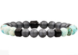 Mens Genuine Aqua Tera Agate And Hematite Black Plated Stainless Steel Beaded Bracelet