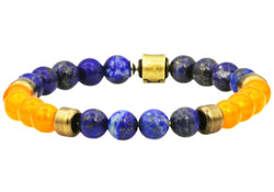 Mens Genuine Lapis Lazuli And Orange Carnelian Gold Plated Stainless Steel Beaded Bracelet