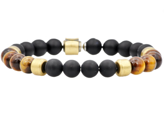 Mens Genuine Onyx And Tiger Eye Gold Plated Stainless Steel Beaded Bracelet