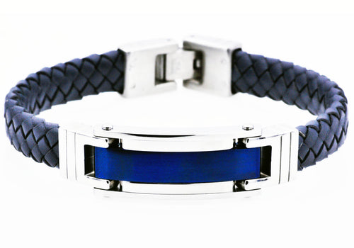 Mens Blue Plated Stainless Steel Blue Leather Bracelet - Blackjack Jewelry