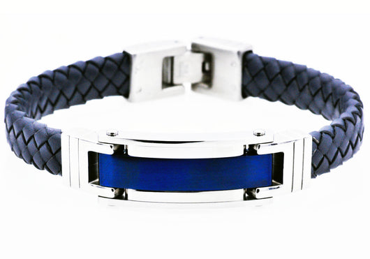 Mens Blue Plated Stainless Steel Blue Leather Bracelet