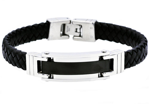 Mens Black Plated Stainless Steel Black Leather Bracelet - Blackjack Jewelry