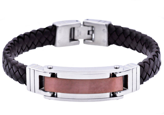 Mens Chocolate Plated Stainless Steel Brown Leather Bracelet - Blackjack Jewelry