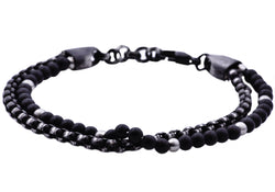 Mens Genuine Onyx Black Plated Stainless Steel Beaded Bracelet