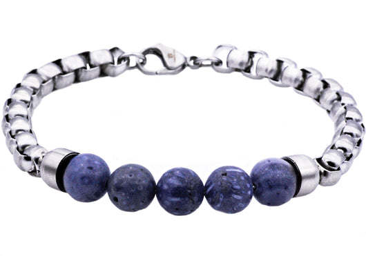 Mens Genuine Blue Coral Stainless Steel Beaded And Rolo Link Chain Bracelet - Blackjack Jewelry