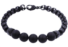 Load image into Gallery viewer, Mens Genuine Onyx Black Plated Stainless Steel Beaded And Rolo Link Chain Bracelet - Blackjack Jewelry