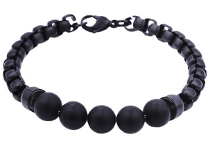 Mens Genuine Onyx Black Plated Stainless Steel Beaded And Rolo Link Chain Bracelet - Blackjack Jewelry