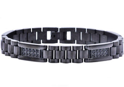 Mens Black Plated Stainless Steel Link Bracelet With Black Cubic Zirconia