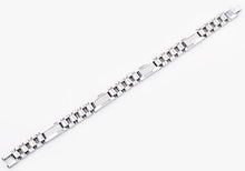 Load image into Gallery viewer, Mens Polished Stainless Steel Link Bracelet With Cubic Zirconia - Blackjack Jewelry