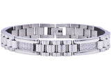 Mens Stainless Steel Link Bracelet With Cubic Zirconia