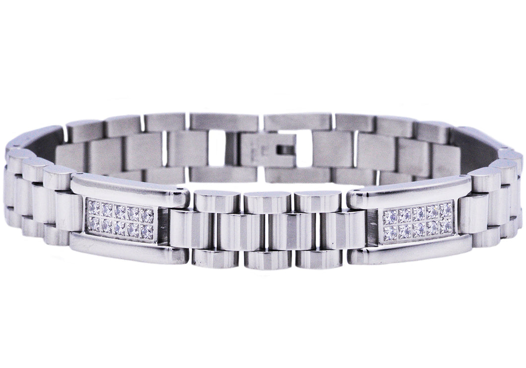 Mens Polished Stainless Steel Link Bracelet With Cubic Zirconia - Blackjack Jewelry